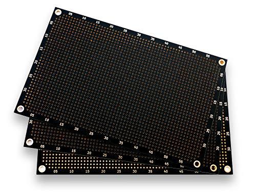 Premium Lochrasterplatine (3er Pack) | Einseitig mit runden Pads | 160 mm x 100 mm | Matt-Schwarz | 2,54 mm Rastermaß