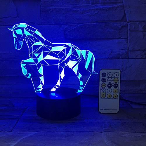 ZBHW Interruptor Remoto o Tacto Acrílico 3D Estéreo Vision Lámpara Interior Caballo Interior Lámpara Decorativa 7 Color Cambio Táctil Dormitorio Lámpara de Noche