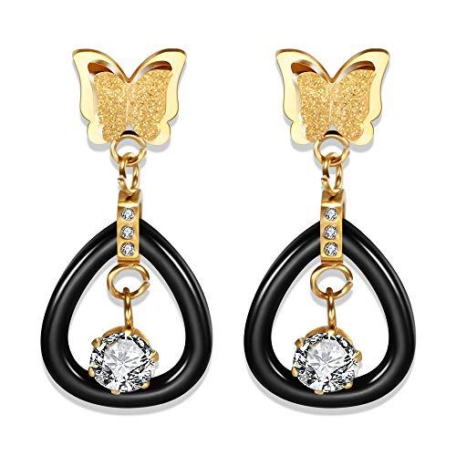 BJINUIY Mode gefrostet Handwerk Schmetterling Ohrringe, Edelstahl, Keramik Diamant Ohrringe, Wilde Kostüme, Machen Sie Ihr Leben mehr Spaß Gold