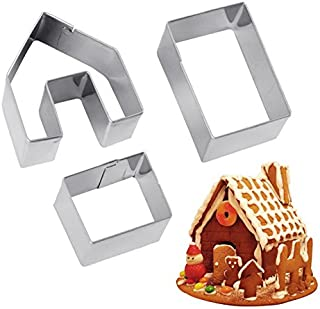 Refaxi Mini Gingerbread House Cookie Cutter Set 3 Pieces Stainless Steel Biscuit Mold