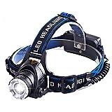 Linterna Frontal Led LED Faro de pesca Faro de pesca T6 Modos Zoomable lámpara impermeable cabeza antorcha linterna lámpara de cabeza para acampar Deportes al aire libre ( Body Color : Only headlamp )