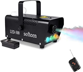 Fog Machine with LED Lights in Red, Blue, Green, softeen Portable 3 Colors 500W Smoke Machine with Preheating Indicator Light and Wireless Remote Control for Party Christmas Halloween Stage