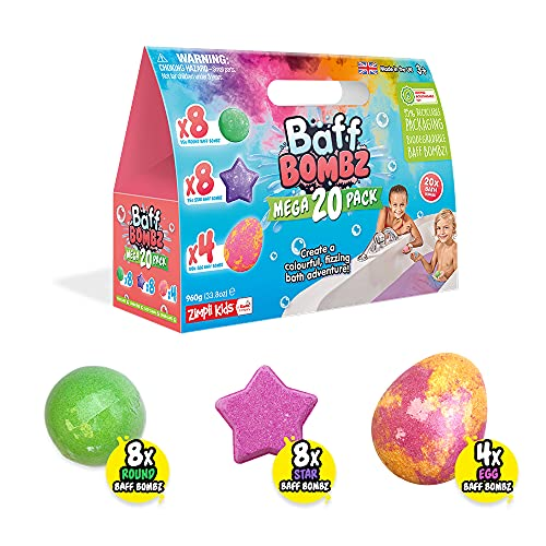 20 x Bath Bombs Mega Value Pack from Zimpli Kids, Children's Value Pack, Children's Christmas Present, Bath Fizzies, Xmas Gifts for Boys and Girls