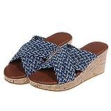 LANTUI Sandalias De Cuña para Mujer, Zapatillas con Punta Abierta De Verano para Mujer, Mulas con Plataforma De Playa, Zapatos De Cuña Baja De Moda Ligera,Blue-39