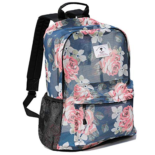 Original Print Mesh Backpack Semi-Transparent Sackpack See Through Beach Bag Daypack Multi-Purpose...