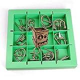 Ecommur Set de 10 Rompecabezas de Metal (Verde) Eureka - Rompecabezas de concentración/Memoria (+7 años)