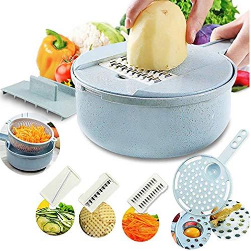 Justdolife Mandoline Slicer Mehrzweck 8 in 1 Gemüseschneider Cutter Cheese Grater (8 in 1)