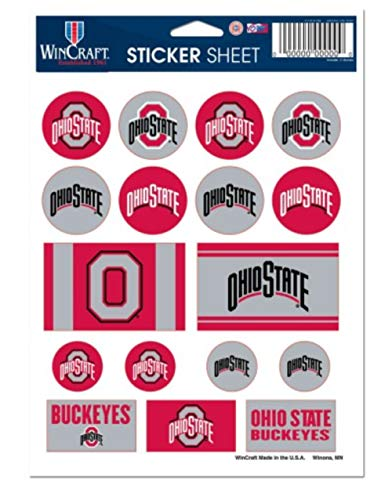 "WinCraft NCAA Ohio State University Vinyl Sticker Sheet, 5"" x 7"""