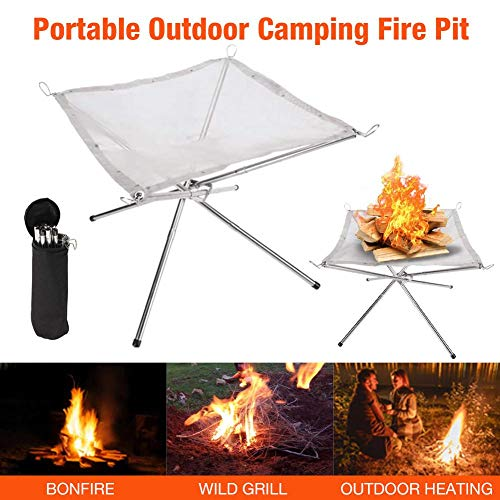 Garden Fire Pit,Camping Fire Pit,Stainless Steel Portable Basket Patio Heater Log Wood Charcoal Burner Brazier For Camping Or Patio Garden Fire Party