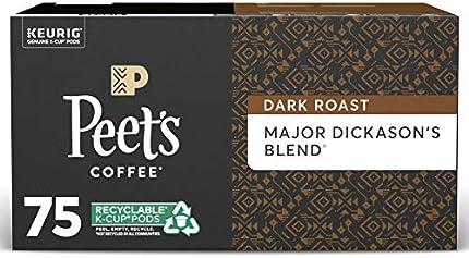 Peet's Coffee - Capsulas de café de mezcla Major Dickason, tostado oscuro, para cafetera Keurig