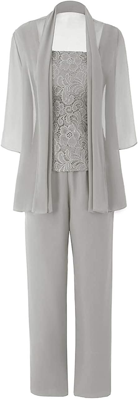 Women's Chiffon Mother of The Bride Evening Dresses Lace Pant Suits 3 Pieces Jumpsuit Wedding Guest Wear