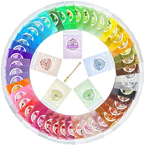 Epoxidharz Farbe - 50er x 5g Seifenfarbe Metallic Farbpigmente mit Löffel - Epoxy Farbe Pigment...