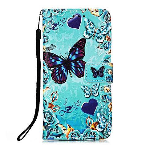 Nadoli Leder Hülle für Samsung Galaxy S21 FE,Bunt Blau Grün Schmetterling Malerei Dünne Magnetverschluss Standfunktion Handyhülle Tasche Brieftasche Etui Schutzhülle