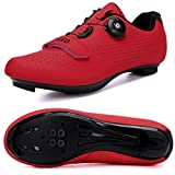 Hombres Bicicleta De Carretera Zapatos De Ciclismo Premium Microtex Zapatos Con Cleat Hombres SPD Zapatos Negro Blanco Hombres Ciclismo Spinning Zapatos, color Rojo, talla 40 2/3 EU
