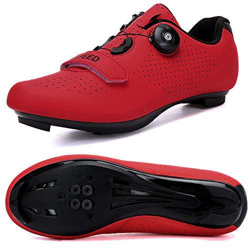 Hombres Bicicleta De Carretera Zapatos De Ciclismo Premium Microtex Zapatos Con Cleat Hombres SPD Zapatos Negro Blanco Hombres Ciclismo Spinning Zapatos, color Rojo, talla 42 1/3 EU