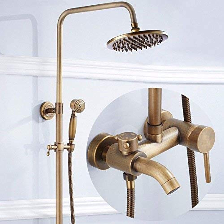 Dusche Europischen Retro Third Gear Dusche Kupfer Antik Aufzug Dusche Set Handheld heies und kaltes Wasser Wasserhahn Bad Dusche Mischbatterie