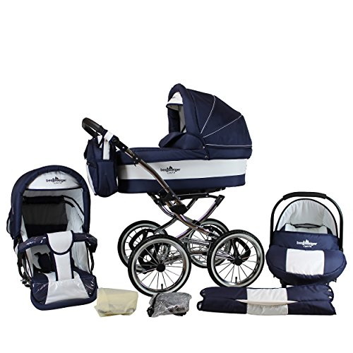 Bergsteiger Venedig Nostalgie Kinderwagen 3 in 1 Retro Kombikinderwagen Megaset 10 teilig inkl. Babyschale, Babywanne, Sportwagen und Zubehör (marine/white)