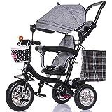 HYAN Bicicleta de Cochecito reclinable de Triciclo de carruaje Plegable para niños Durante 6 Meses - Bicicleta de 5 años con Dosel Resistente al Clima extraíble (Color : Gris)