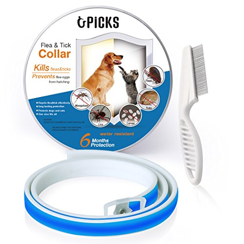 Collar de pulgas para perros, 6 meses de proteccin contra pulgas y control de garrapatas para perros Gatos, tamao ajustable e impermeable, Stop Bichos y picazn