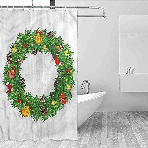 Wild One Curtain slinger met kerstmotief, eenvoudig te bedienen, douchegordijn voor badkamer, W122 x H183 cm