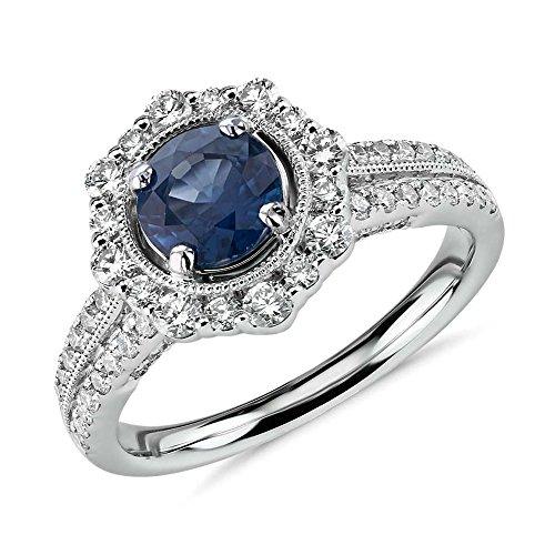 Anillo de compromiso de diamante de corte redondo de 1,80 quilates, diamante, zafiro azul, piedra preciosa, oro blanco de 14 quilates, todos los tamaños, L, M, N, O, P Q R