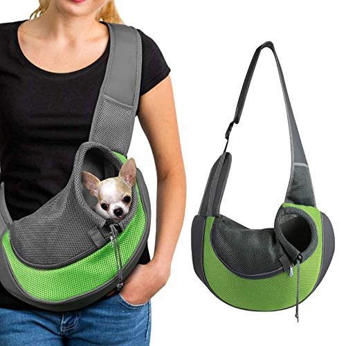 LxwSin Borsa a Tracolla per Cani Gatti,Zaino per Animali Domestici a Mani Libere,Borsa a Tracolla Rete Traspirante per Animali Domestici di Piccola Taglia,Sacca da Trasporto Gatto e Cane per Viaggiare