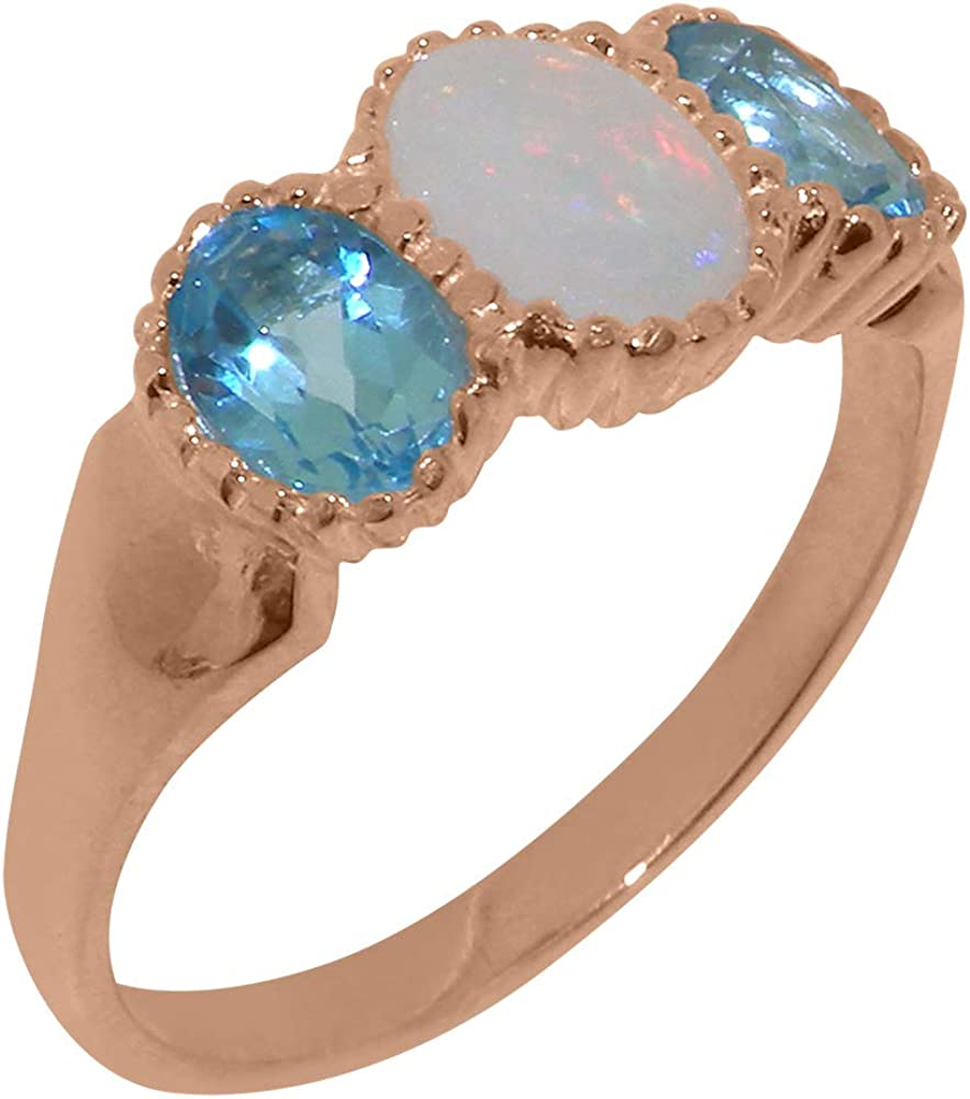 14k Rose Gold Natural Opal Spring new work Blue Trilogy Womens Si shipfree - Topaz Ring