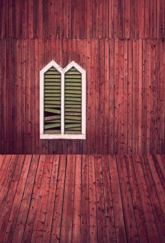 5X7ft rode houten rustieke muur met raam en gebroken rolluiken Fotografie Pasgeboren Achtergrond XT4342