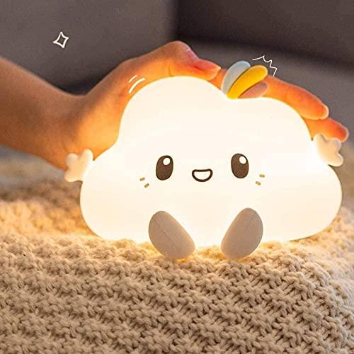 Luz de noche linda para niños de silicona suave lámpara de bebé 7 colores cambiantes LED portátil nube lámpara USB carga táctil sensor lámparas de noche para dormitorios niños decoración