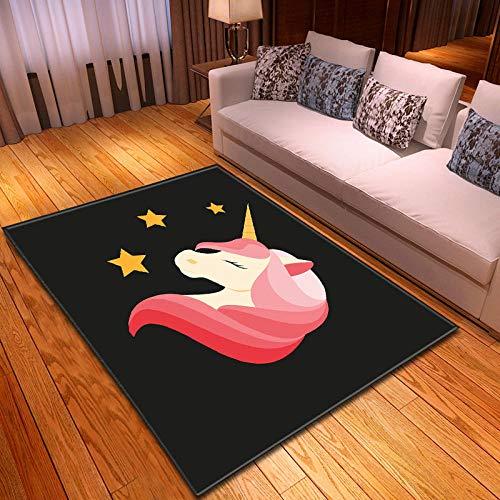 CGZLNL Alfombra de Suelo Unicornio de Dibujos Animados Home Alfombra Impreso Fácil de Limpiar Salón Comedor Dormitorio Alfombra de Suelo Tamaño: 160 x 230 cm