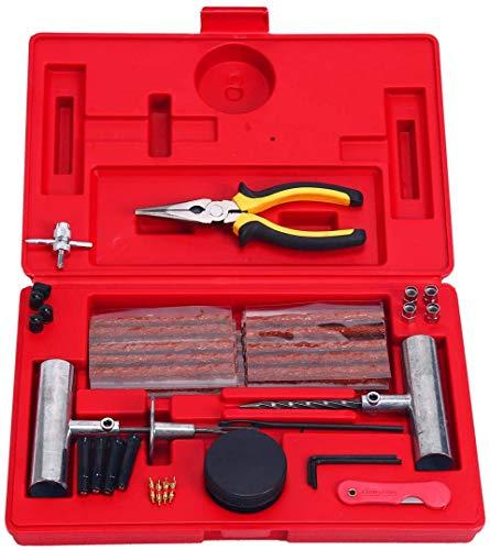 FreeTec - Kit de herramientas de reparación de neumáticos de alta resistencia 56 piezas para motocicleta, ATV, Jeep, camión, tractor pinchazos de neumáticos planos