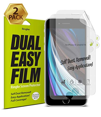 Ringke Dual Easy Film (2 Pack) Screen Protector Designed for iPhone SE 2020 (2nd Generation) Compatible with iPhone 8 (2017) and iPhone 7 (2016) 4.7'
