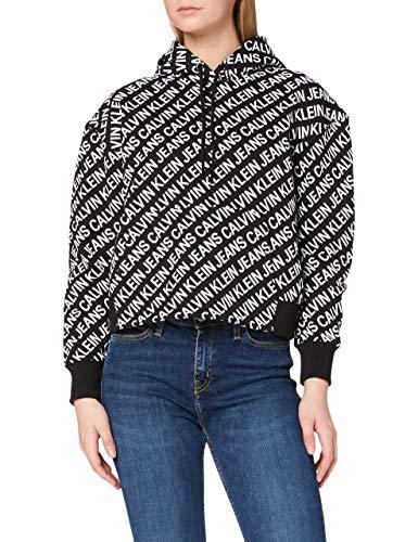 Calvin Klein Jeans Hoodie Maglione, Logo istituzionale AOP Nero, M Donna