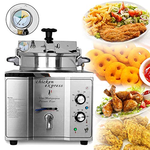 TX® Commercial 16L KFC Chicken Fryer Machine Stainless Steel Fried Chicken Oven Multi-Function Deep Fryer for French Fries Chicken Legs with Temperature Control (110V/60HZ, 16L)