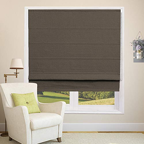 Roman Shades Blackout Window Shades, Brown Custom Roman Window Shades Washable Blackout Lining Fabric for Windows, Doors, French Doors, Kitchen Windows