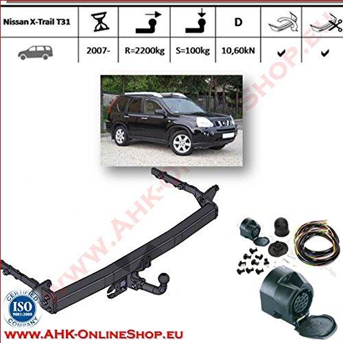 AHK Anhängerkupplung mit Elektrosatz 13 polig für Nissan X-Trail T31 2007- Anhängevorrichtung Hängevorrichtung - starr, mit angeschraubtem Kugelkopf