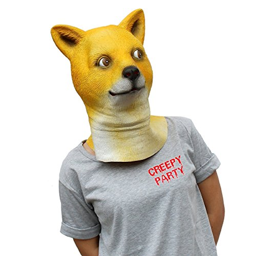 CreepyParty Festa in Costume di Halloween Maschera in Lattice a Testa di Animale Shiba Cane Doge