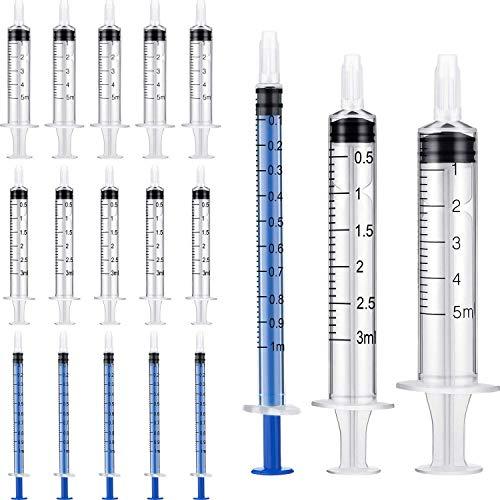 Spritze 1ml/3ml/5ml, 60pcs Plastikspritze, Kunststoff Spritze Dosierspritze für wissenschaftliche Labors, Flüssigkeitsmessung und -abgabe, Tierfütterung, Pflanzenbewässerung