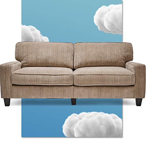 """Serta Palisades Upholstered Sofas for Living Room Modern Design Couch, Straight Arms, Soft Fabric Upholstery, Tool-Free Assembly - 73"""" Sofa - Beige"""