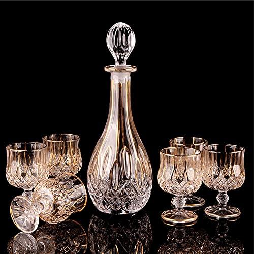 Decantador, Juego De Sake De Vidrio De Aspecto Elegante, Adecuado para Vino Blanco Y Vino Tinto, Estabilidad Antideslizante En El Fondo del Vaso 0721 (Color : 210ML 7 Piece Set)
