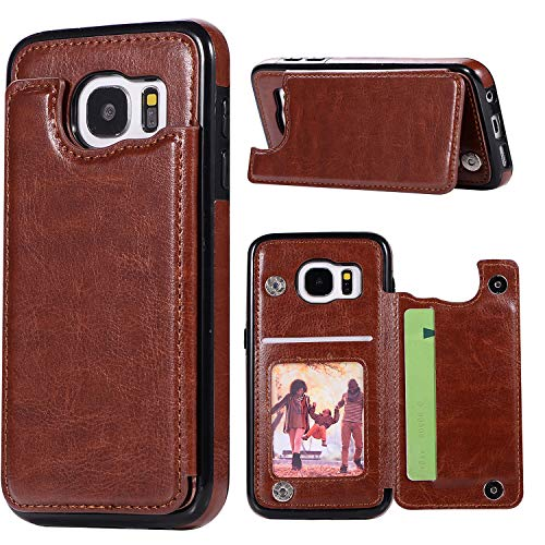 Phone Case for Samsung Galaxy S7 Edge with ID&Credit Card Holder Slots Pockets Wallet Back Cover Stand Flip Cell Glaxay S7edge Gaxaly S 7 Plus Galaxies GS7 7s 7edge Cases Soft PU Women Men Brown
