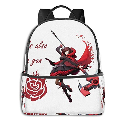 IUBBKI Mochila lateral negra Mochilas informales Rwby-Ruby Rose Student School Bag School Cycling Leisure Travel Camping Outdoor Backpack