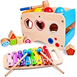 Lamlingo Hammering Pounding Bench Toys, Xylophone Musical Pounding Toy for Toddlers, Montessori Developmental Educational Learning Toy, Shape Sorter Ball Toys Best Gift for 1 2 3+ Years Boy Girl Kids