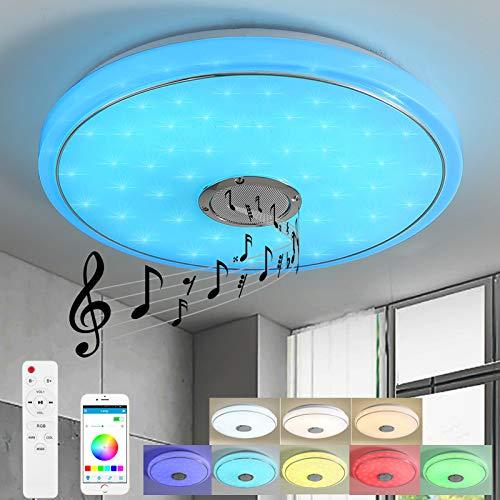 Style home 24W Bluetooth Deckenleuchte LED RGB Deckenlampe, Farbwechsel dimmbar mit Fernbedienung und APP Runde (40 * 40 * 6 cm)