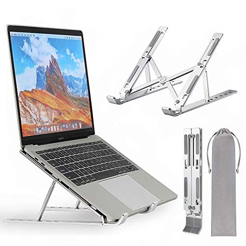 Neekor Portable Laptop Stand, Aluminium Alloy Adjustable Height Laptop Computer Stands, Ergonomic Foldable Desktop Holder,Ventilated Ultra-Thin Bracket for All 11''-17'' Laptops and Ipad (Silver)