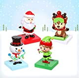 Christmas Solar-Powered Dancing Toys, Snowman, Elf, Reindeer, Santa Claus, 4 Pack, Decorative Tabletop Dashboard Figurine