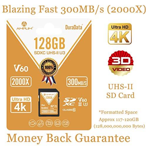 UHS-II SD Card 128GB SDXC - Amplim High Performance 300MB/S (2000X) UHS2 Extreme Speed 128 GB/128G XC Memory Card. V60 4K 8K UHSII TF Flash for Fujifilm, Nikon, Olympus, Panasonic, Sony Video Cameras