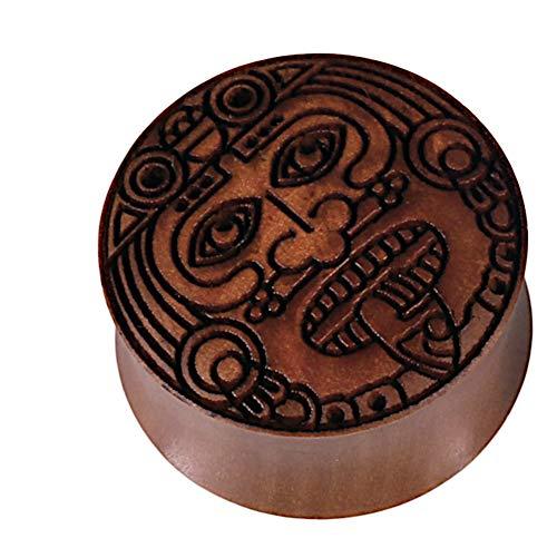 Chic-Net Damen Herren Flesh Holz Plug Lobe Piercing aus Sawoholz in braun mit Krieger Gesicht Gravur, Double Flared