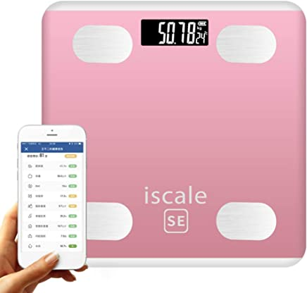 Smart Bluetooth Bathroom Scale Digital Body Fat Scales Body Composition Analyzer with Smartphone App 26 Health Measurements Larger LED Display 190KG Pink Grey