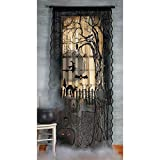 Halloween Spooky Lighted Lace Curtain Panel (7 feet long)